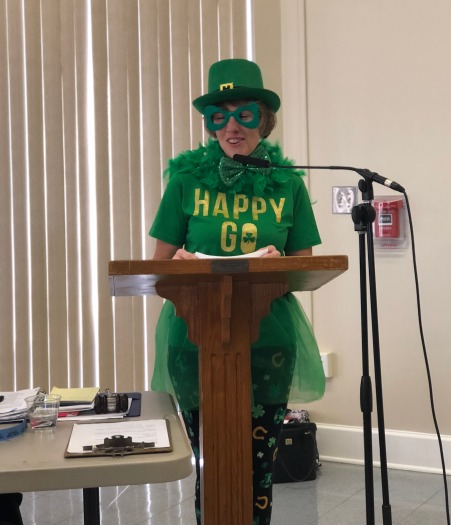 "Leprechaun Danette Pugh calls for this months ""getting to know you"" members"