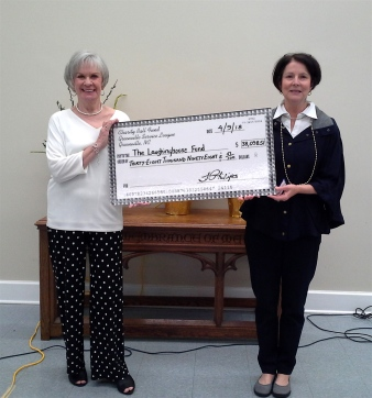 Charity Ball Chair Gwen Gordon and Laughinghouse Fund Chair Brenda Philips presenting check for the net proceeds of The Service League of Greenville's 55th Annual Charity Ball