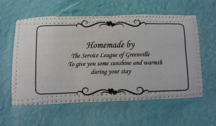 SLG Handmade Blanket label