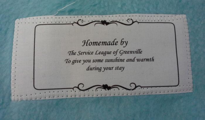 SLG Handmade Blanket label